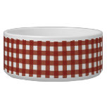 Red and White Gingham Pet Water Bowl