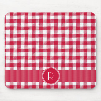 Red And White Gingham Plaid Pattern Personalized Mouse Pad
