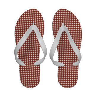 Red and White Gingham Sandals