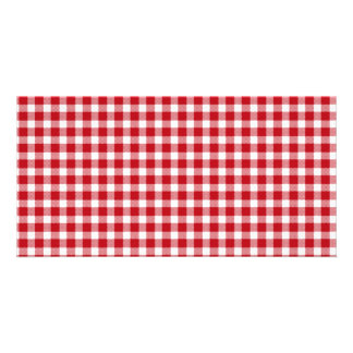 Red and White Gingham Style Custom Photo Card