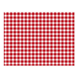 Red and White Gingham Style Postcard