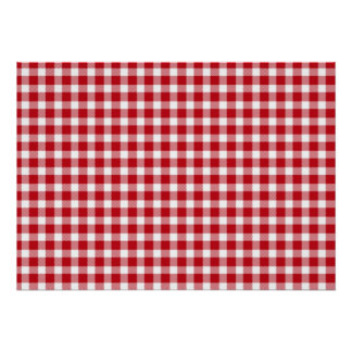 Red and White Gingham Style Poster