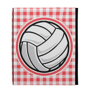 Red and White Gingham Volleyball iPad Cases