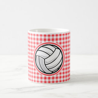Red and White Gingham; Volleyball Coffee Mug