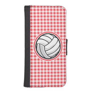 Red and White Gingham; Volleyball Phone Wallets