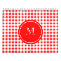 Red and White Gingham, Your Monogram Calendar