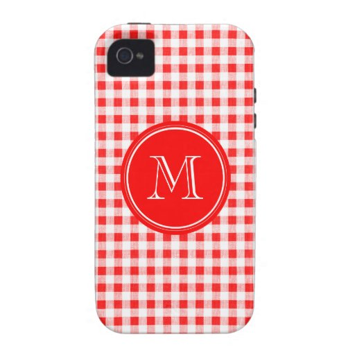 Red and White Gingham, Your Monogram iPhone 4/4S Covers