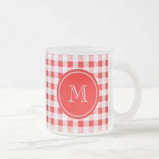 Red and White Gingham, Your Monogram Frosted Glass Coffee Mug