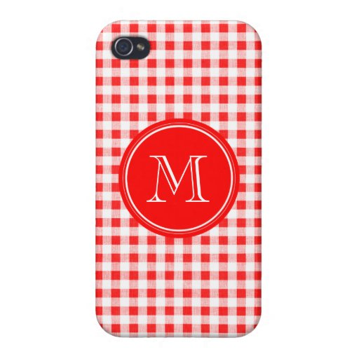 Red and White Gingham, Your Monogram Cover For iPhone 4