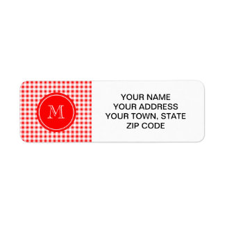 Red and White Gingham, Your Monogram Label
