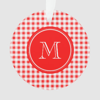 Red and White Gingham, Your Monogram Ornament