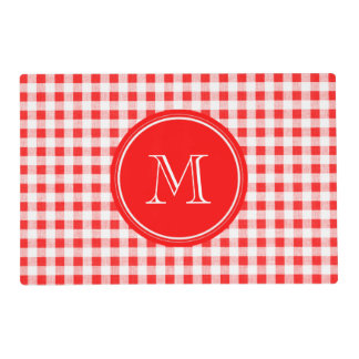 Red and White Gingham, Your Monogram Placemat