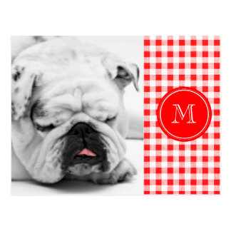 Red and White Gingham, Your Monogram Postcard