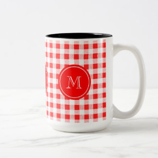 Red and White Gingham, Your Monogram Two-Tone Coffee Mug