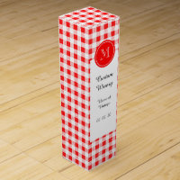 Red and White Gingham, Your Monogram Wine Box