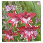 Red and White Gladiolas Summer Garden Floral Napkin