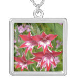 Red and White Gladiolas Summer Garden Floral Silver Plated Necklace