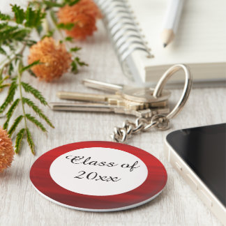 Red and White Graduation Keychain