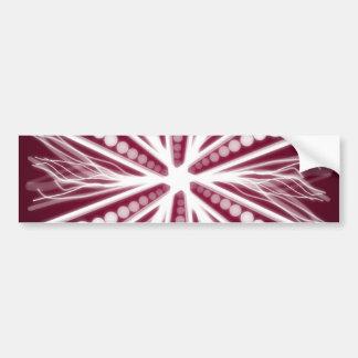 Red and white graphic circular design bumper sticker