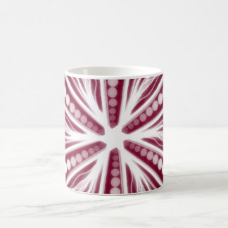 Red and white graphic circular design coffee mug