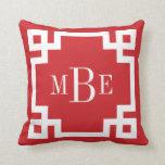Red and White Greek Key Monogram Pillow