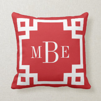 Red and White Greek Key Monogram Throw Pillows