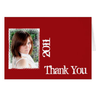 Red and White Grunge Frame Thank You card