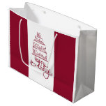 Red And White Happy Birthday Cake Design Large Gift Bag