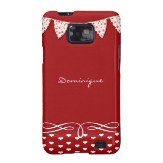 Red and White Heart Banner Galaxy SII Cases