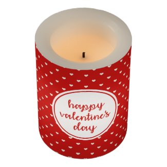 Red and White Heart Happy Valentine's Day Flameless Candle