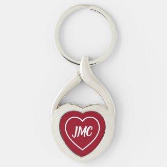 Red and White Heart Monogram Keychain