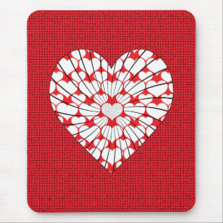 RED AND WHITE HEART MOUSE PAD