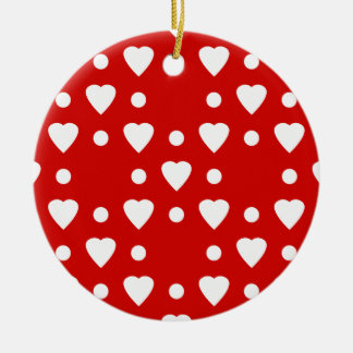 Red and White heart pattern Ceramic Ornament