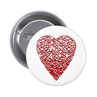 Red and White Heart. Patterned Heart Design. 2 Inch Round Button