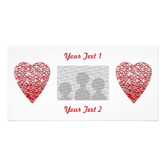 Red and White Heart. Patterned Heart Design. Card