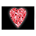 Red and White Heart. Patterned Heart Design. Cards
