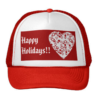 Red and White Heart. Patterned Heart Design. Trucker Hat