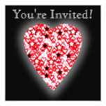 """Red and White Heart. Patterned Heart Design. 5.25"""" Square Invitation Card"""