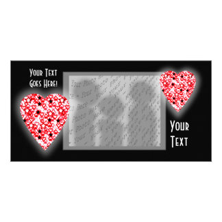 Red and White Heart. Patterned Heart Design. Photo Card