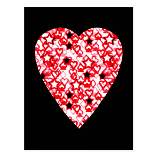 Red and White Heart. Patterned Heart Design. Postcard