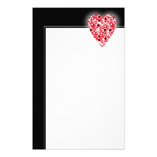Red and White Heart. Patterned Heart Design. Stationery Design