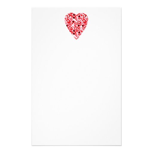 Red and White Heart. Patterned Heart Design. Personalized Stationery