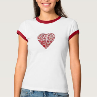 Red and White Heart. Patterned Heart Design. T-shirt