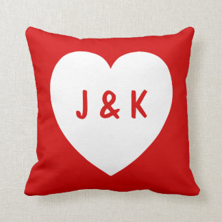 Red and White Heart Symbol Pillow