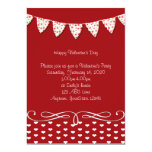 "Red and White Heart Valentine Party Invitation 5"" X 7"" Invitation Card"