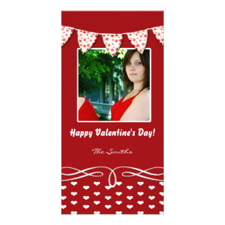 Red and White Heart Valentine Photo Card