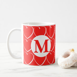 Red and White Hearts Monogrammed Mug