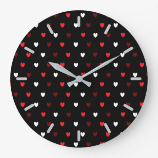 Red and white hearts on black large clock