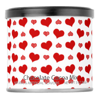 Red and White Hearts Pattern Hot Chocolate Drink Mix