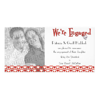 Red And White Hearts Photo Engagement Announcement Photo Card